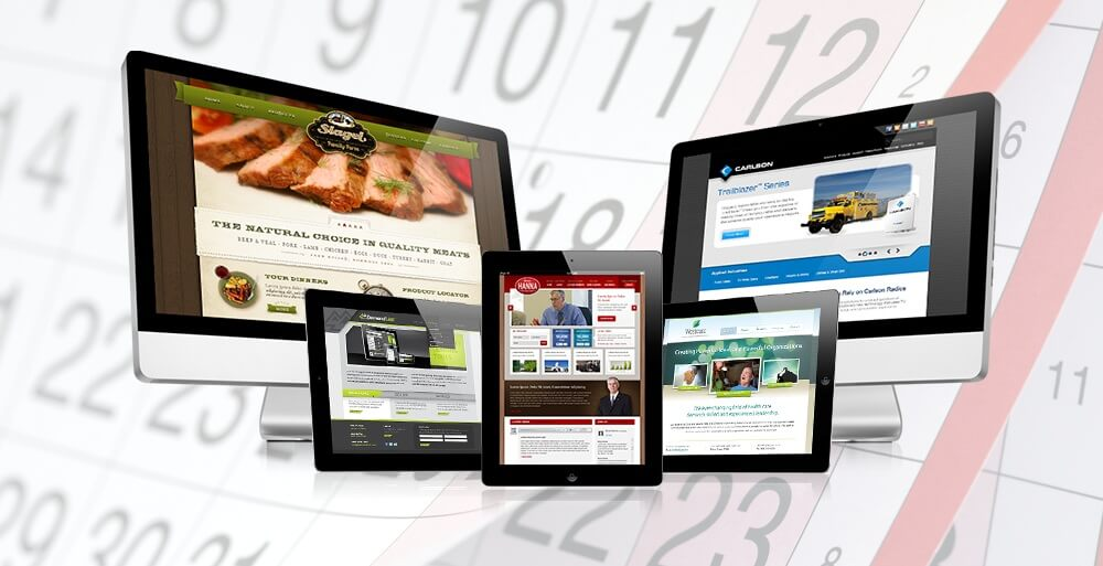 Tendencias diseño web 2016 - Imagen de páginas web y un calendario