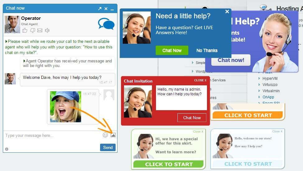 Chat de soporte para sitios web - Ejemplo de invitaciones de chat